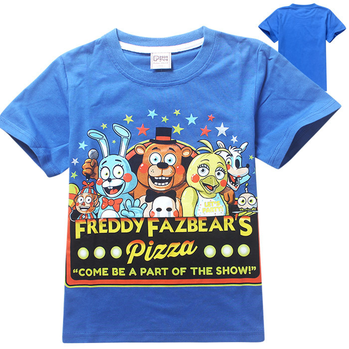 New 2015 boy's t shirt Five Nights at Freddy's short-sleeved t-shirt children's cartoon Three colors kids boys child's clothes(China (Mainland))