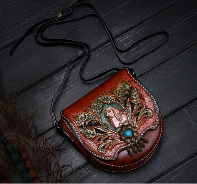 Unique Design High Value 100% Hand Engraving Leather Ladies Saddle Bag Genuine Cow Leather Craft Vintage Women's Cross Body Bag(China (Mainland))