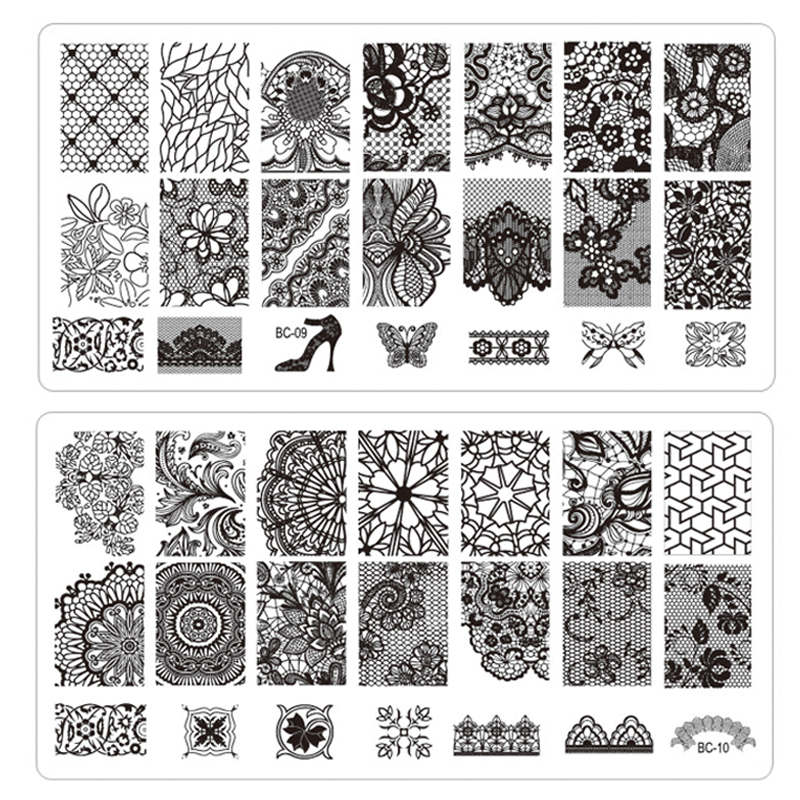 Гаджет  1pcs New Black Flower Lace Nail Stamping Plates Stainless Steel Nail Art Stamp Template Manicure Nail Tools None Красота и здоровье