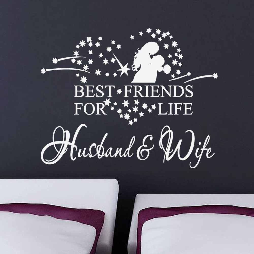 Wedding Bedroom Wall Decoration : Aliexpress buy d stickers wife husband decal