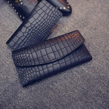Excellent quality 2pcs classic crocodile pattern leather long design women wallet genuine leather japanned female card wallet