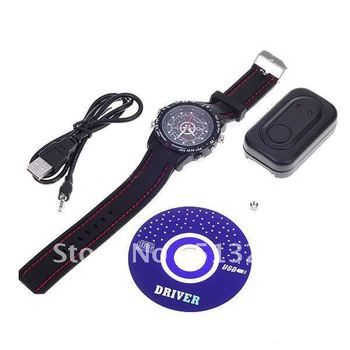 Free Shipping USB Rechargeable 1.3 MP Pin-hole Mini AV Camera Disguised as Working Waterproof Wristwatch (4GB)