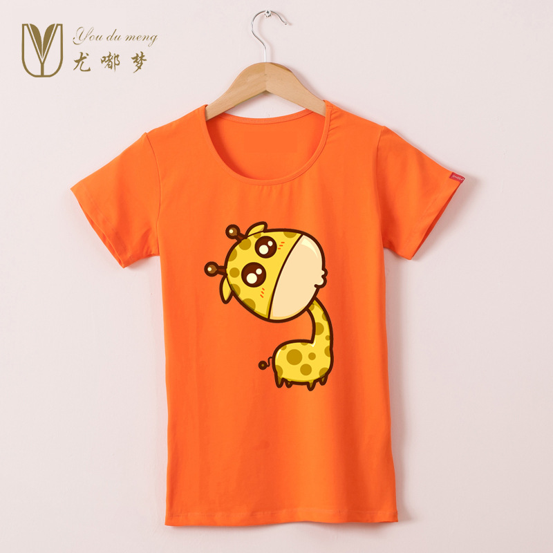 New Fashion Women T Shirt Vogue Lovely Giraffe printed Tee Tops For Woman Clothing O Neck