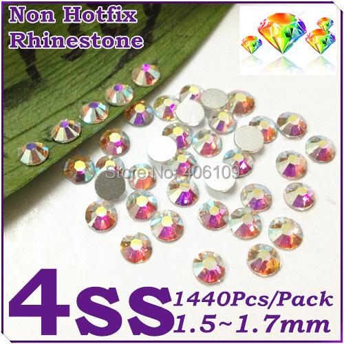 Гаджет  Super Shiny 1440PCS SS4 (1.5-1.6mm) Clear Glitter Non Hotfix Crystal Color 3D Nail Art Decorations Flatback Rhinestones None Красота и здоровье