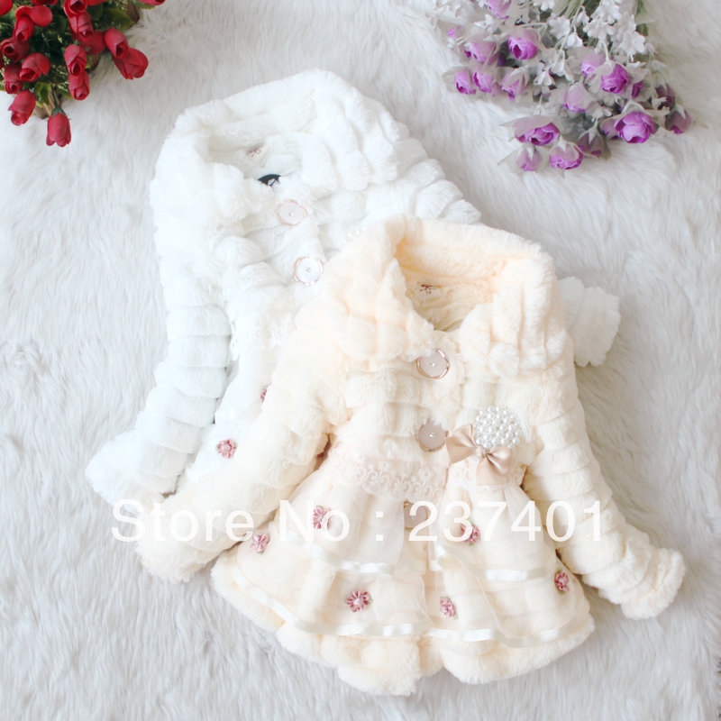 Retail Baby Girl faux fur coat Sweet flowers overcoat Kids lace jackets Autumn Winter outerwear children's Warm clothing(China (Mainland))