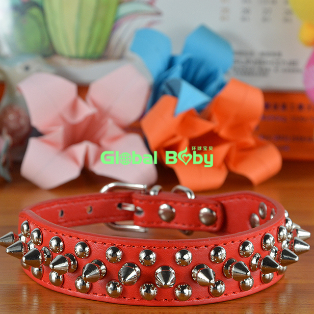 New Designer 6 Colors PU Leather Pet Dog Collar Studded Round Spikes and Small Mushroom Dog Pet Collar Necklace