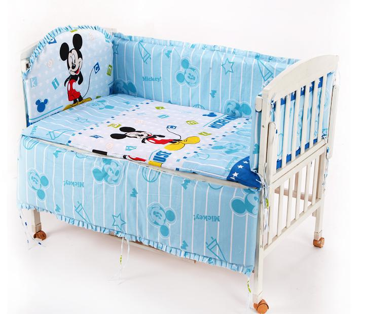 Promotion! 8PCS Mickey Mouse unpick and wash the baby bedding set kit baby bed around (bumper+sheet+pillow cover)<br><br>Aliexpress