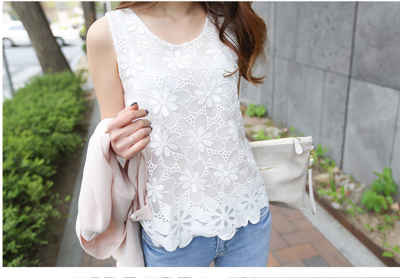 blusas femininas 2015 Fashion Tropical Women Blouses Sexy Lace Shirt Sleeveless Worsted Design Solid Pattern Cheap Clothes China(China (Mainland))