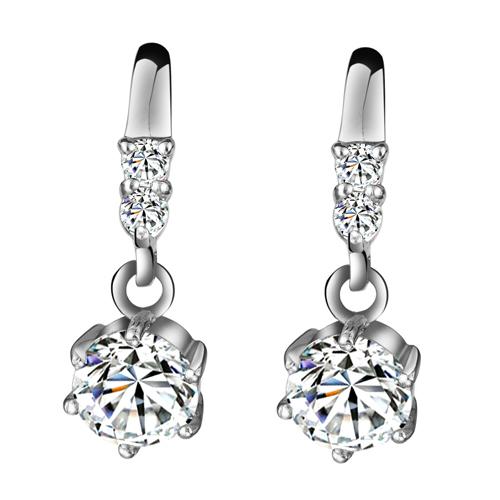 Здесь можно купить  Jewelry vintage cubic zircon stone pure silver earrings fashion earring drop earring hearts and arrows  Ювелирные изделия и часы
