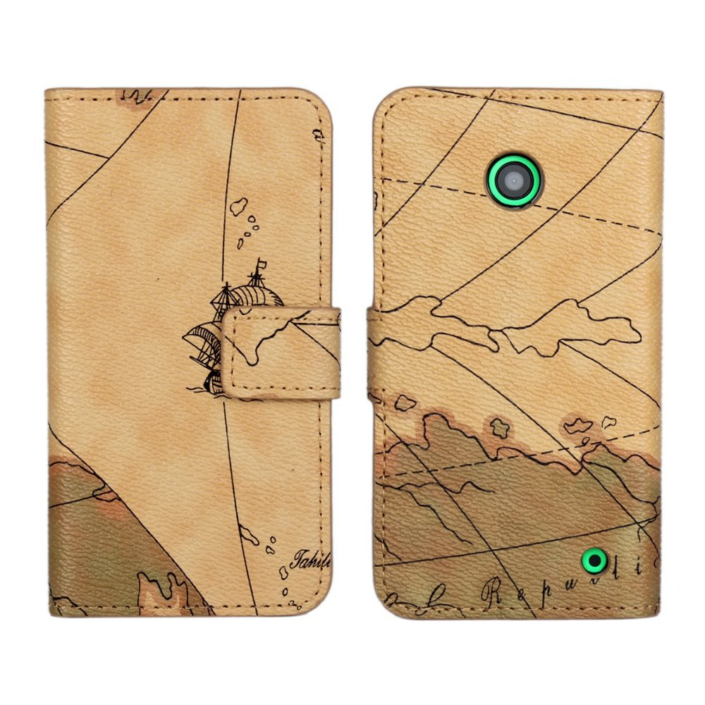 Luxury World Map Wallet Cover PU Flip Leather mobile Phone Bags Protective Cases Stand Holder For Nokia Lumia 630 635(China (Mainland))