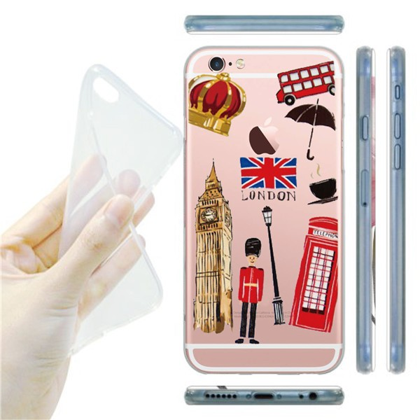 Fashion Lady Loves Clear Makeup Dresser Luxury Cosmetics Phone Case For iphone 6 6s plus British Style Flag Phone Shell