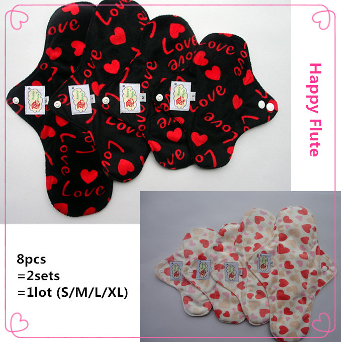 Free Shipping, 8pcs=2sts=1lot bamboo charcoal cloth menstrual pads, feminine hygiene product, reusable sanitary napkin pads(China (Mainland))