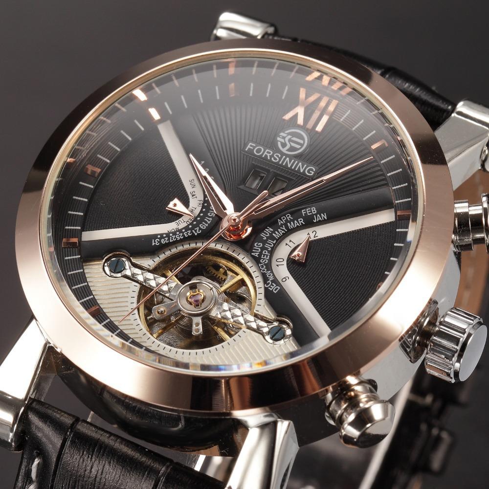 Tourbillon Wrap Mens Watches Brand Luxury Automatic Watch Golden Case Calendar Male Clock Black Mechanical Watch Designer Watch(China (Mainland))