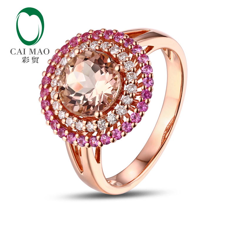 18K Rose Gold 1.81CT Round Cut Morganite 0.62ct Diamond &amp; Ruby Engagement Ring Free shipping<br>