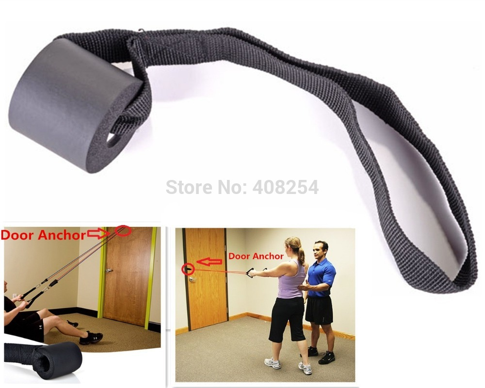 Resistance bands set or one foam door anchor strap for 10 minute trainer door attachment