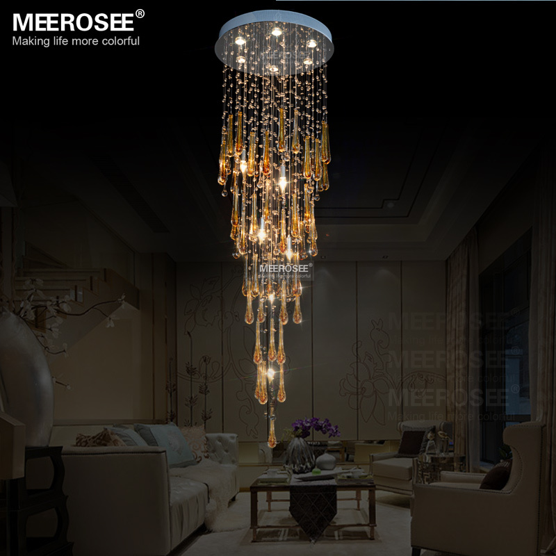 Crystal Foyer Chandelier : Modern crystal chandeliers light fixture long large