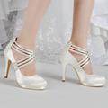 EP11085 PF Ivory White Women Bride Shoes High Heel Rhinestones Platforms Pumps Zip Strap Satin Wedding