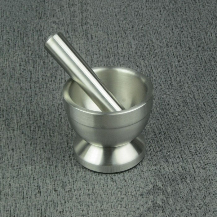 Double deck stainless steel pepper mill mortar and pestle