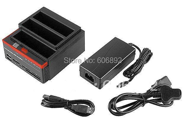 "Free shipping USB HDD Docking Station, HDD Docking, 3.5""/2.5"" Dual SATA/IDE HDD dock / Docking station card reader USB HUB(China (Mainland))"