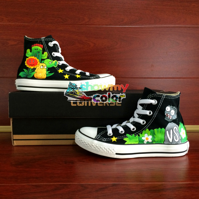 Kids Converse All Star Shoes Black High Top Plants Vs Zombies Canvas Sneaker Custom Made Gifts for Boys Girls(China (Mainland))