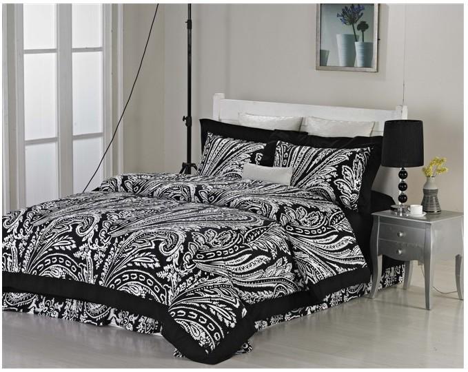 Marca de luxo algodão egípcio conjunto de cama preto e branco do vintage folha de tamanho king rainha colcha edredon cobrir cama em um saco 2015 4 pcs(China (Mainland))