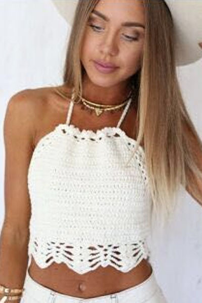 Women Sexy White Hollow Out Crochet Knit Crop Top Summer Handmade Knit Beach Camis Boho Bikini Crop Top Halter Crochet Tank Top(China (Mainland))