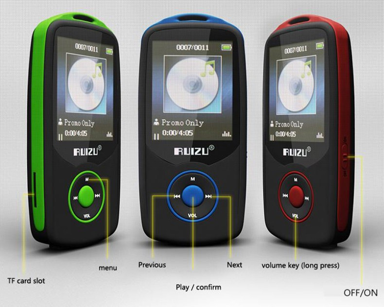 Купить Мини Оригинальный RUIZU X06 Bluetooth MP3 Плеер 8 ГБ Спорт MP3 музыкальный Плеер Экран 100 Часов Высокого Качества Без Потерь Рекордер FM электронная книга