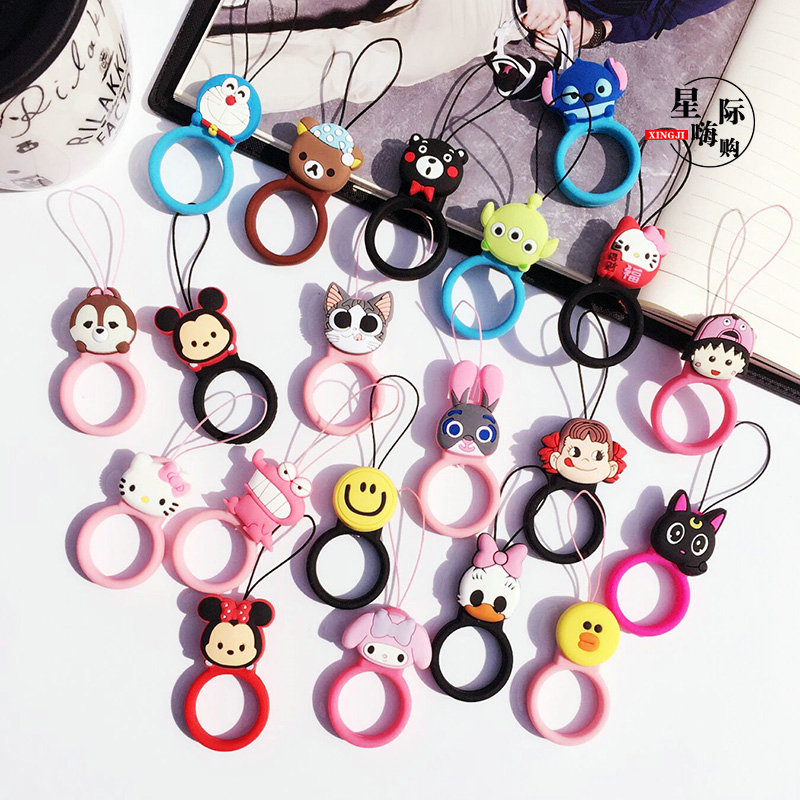 Cute cartoon Universal Mini Silicone Soft Mobile Phone Straps Ring Pendant Cellphone Accessories for iPhone USB Car keys camera(China (Mainland))