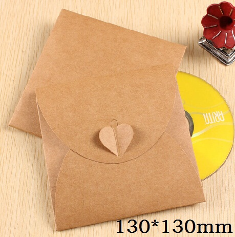 130*130mm/Vintage Heart Kraft Paper CD Optical disc Paper Bag/DVD Bag/DIY Multifunction Green Card bag/envelope/wholesale(China (Mainland))