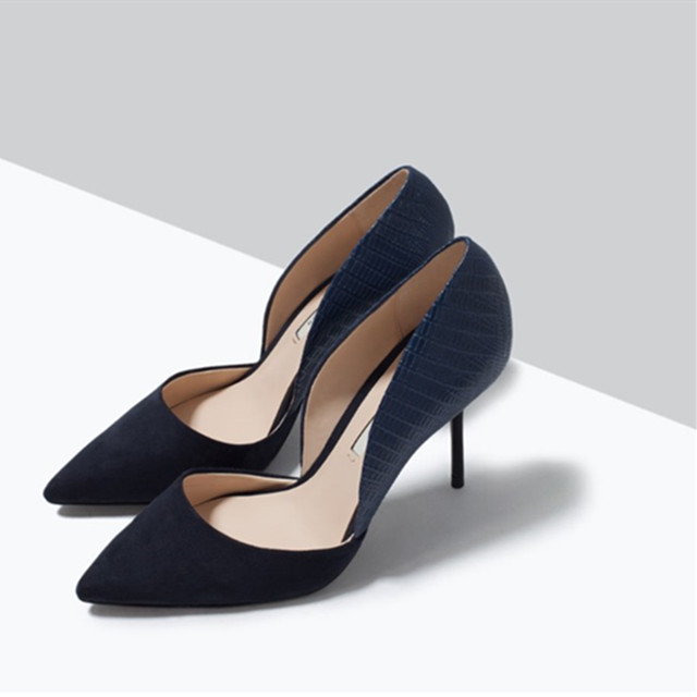 Two-Piece Women Shoes Pumps Plus Size 2017 Spring Thin Heels Shoes,Summer Sandals Pointed Elegant Ladies Shoes Blue Pumps Nude