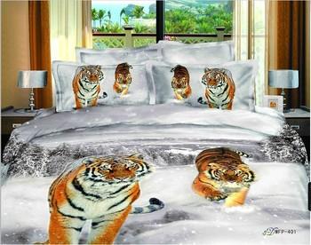 New Beautiful 100% Cotton 4pc Doona Duvet QUILT Cover Set bedding sets Full Queen King 4pcs animal white golden tiger leopard
