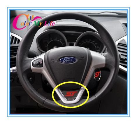 Car Covers New Style Sport St Logo Steering Wheel Sequins Cover Stickers Case for 2009-2014 Ford Fiesta Ecosport Accessories(China (Mainland))