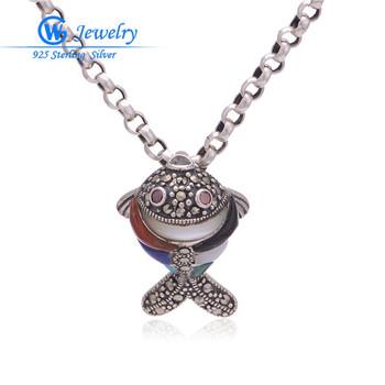 100% real 925 sterling silver pendant fish fire opal pendant Aliexpress wholesale GW Fine Jewelry PET484
