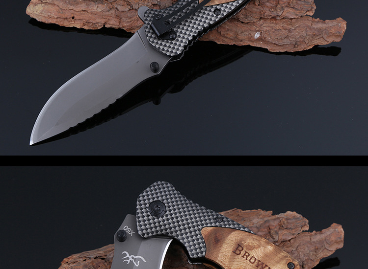 Buy Browning X50 Multifunction Tactical Folding Mini Pocket Knife Steel Blade Survival Exquisite Hunting Knives Wood Handle Wi cheap
