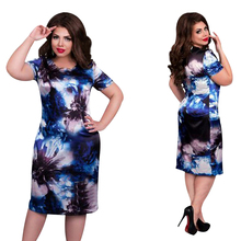 Buy 2017 Fashion Brand Women Dress Plus Size 6XL Vestidos O Neck Print Flower Straight Casual Summer Knee Length Oversized Dress for $8.30 in AliExpress store