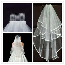 Fashion Simple cheap white Wedding Veil Satin edge one layer wedding accessory bridal veil free shipping(China (Mainland))