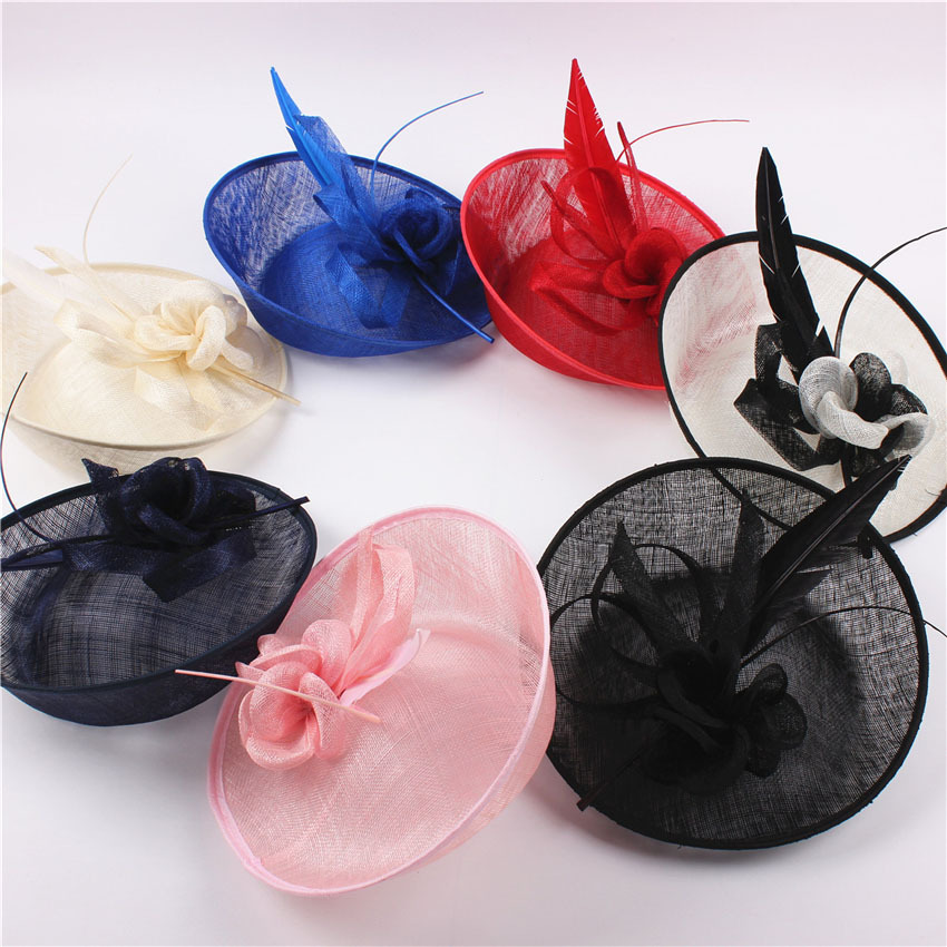 2016 Elegant Lady Fashion Sagittate Feather Fascinator Sinamay Hat Woman Wedding Flower Sinamay Hat Headband Hair Accessories(China (Mainland))