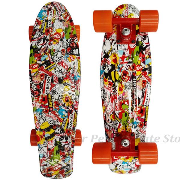 Floral Printed Penny Board Penny Style Skateboard Complete Retro Girl Boy Cruiser Mini Longboard Skate Long Board Penny P5003(China (Mainland))