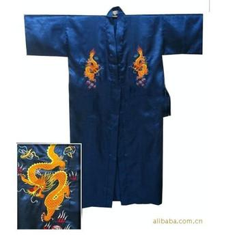 Free Shipping Navy Blue Chinese Men's Satin Silk Robe Embroidery Kimono Bath Gown Dragon Size S M L XL XXL XXXL S0103-E