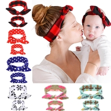 2PC/Set Mom Love Kids Rabbit Ears Hair Band Ornaments Tie Bow Women Headband Stretch Knot Cotton Head Child Hair Accessories(China (Mainland))