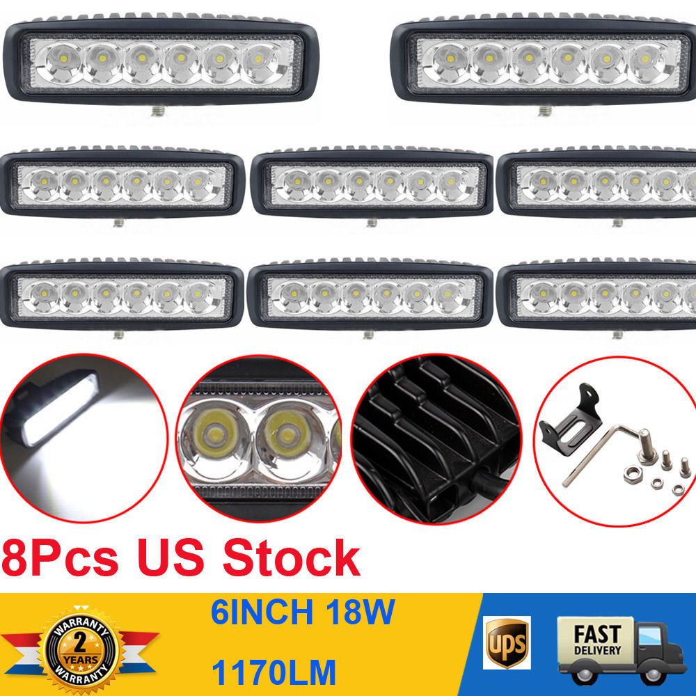 """8Pcs 6"""" 18W LED WORK LIGHT BAR SPOT FOR FOG DRIVING OFFROAD JEEP CAR 4WD UTE Mining(China (Mainland))"""