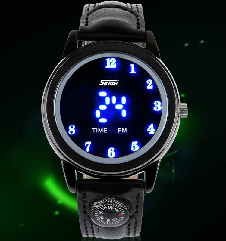 SKMEI Fashion Unisex Blue LED Digital Watch Woman PU Leather Strap Outdoor Sport 30m Waterproof Compas Wrist Watches Men Clock(China (Mainland))