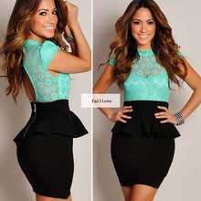 NEW Arrival!!Spring Summer Dress Women's Sexy Bodycon Dresses Black Peplum Party Cocktail Floral Lace Dress   #00004