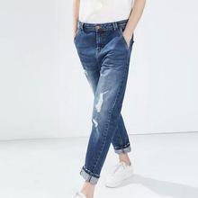 KZ561 New Fashion Ladies' elegant classic holes Blue Denim jeans trouses zipper pockets skinny pants casual slim brand design(China (Mainland))