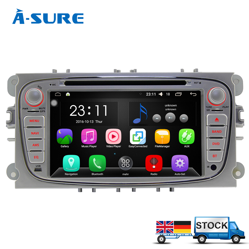 A-Sure DAB+ Autoradio 1024*600 Double 2 Din Android 5.1.1 Car DVD GPS Navigation For Ford Focus Mondeo S-Max C-Max Galaxy Kuga(China (Mainland))