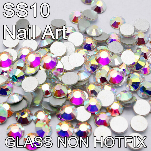 DIY Iron On Glass Crystal Stones Flatback 3mm SS10 1440pcs Round Strass Non Hotfix Rhinestones For Crafts(China (Mainland))