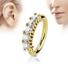 Модное кольцо из нержавеющей стали с кристаллами, кольцо для носа и уха, серьги для ушного хряща(China)