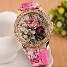 Girls Ladies Casual Watch Beautiful Full Rhinestone watch Women Flower Wristwatch dress watch clock hours montre femme