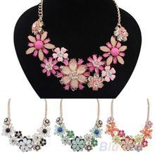 Women's Fashion Jewelry Flowers Bib Statement Necklace Chain Pendant 1Q4O(China (Mainland))