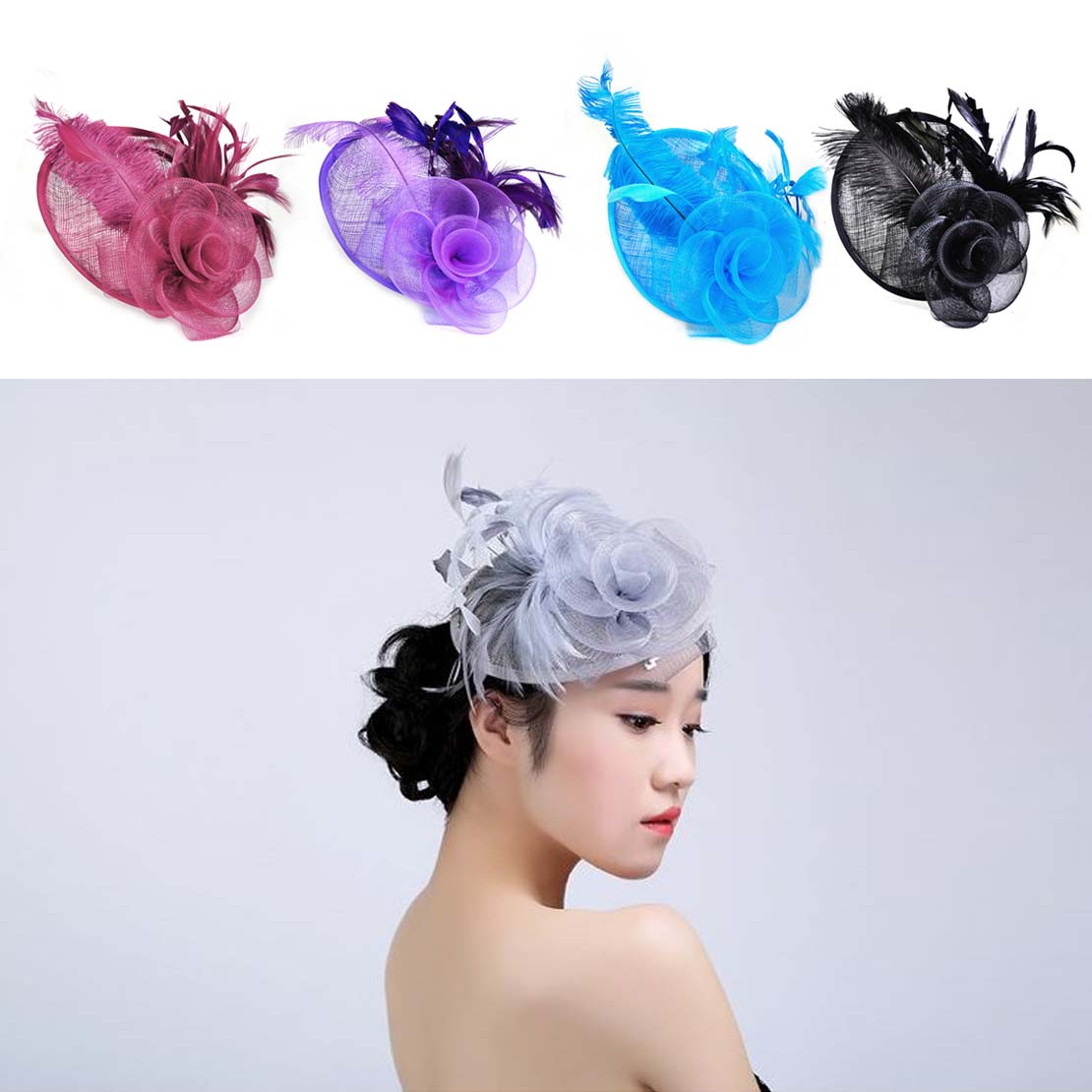 1pc New Lady Top Hat Fascinator Hair Clip Feather Sinamay for Cocktail Party Church Memorial Wedding Headwear Hair Accessories(China (Mainland))
